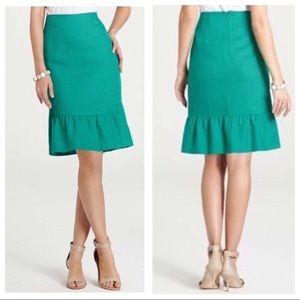 Ann Taylor Green Ruffled Trumped Skirt